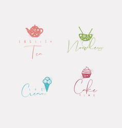 food sign cake ice cream tea noodles color vector image