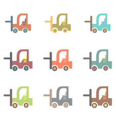 Forklift truck collection work vehicles set vector