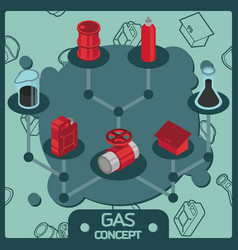 gas color isometric concept icons vector image