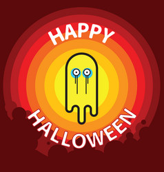 ghost flat design thin line halloween vector image