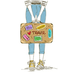 Girl holding travel suitcase vector
