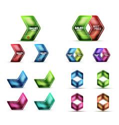 glass metallic arrow web banner design set vector image