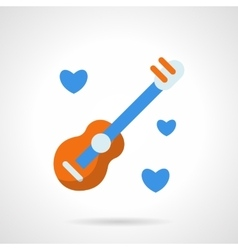 Guitar with hearts flat color icon vector image