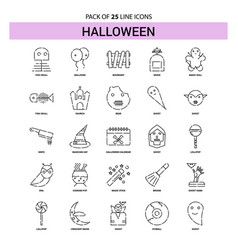 Halloween line icon set - 25 dashed outline style vector