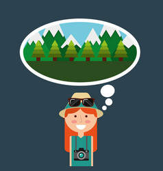 Happy tourist woman travelers vacations thinking vector