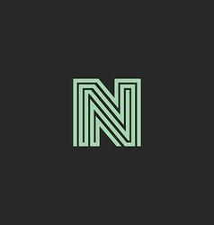 Hipster initial N letter logo monogram green vector image