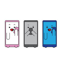 kawaii communicating on smartphone conversation vector image