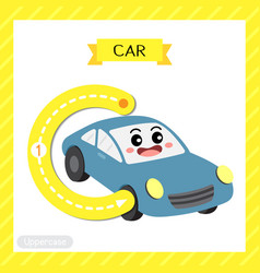 Letter c uppercase tracing car vector