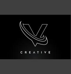 Letter v logo v letter design with monogram lines vector