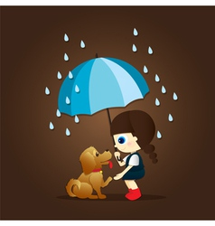 little girl and cute puppy vector image