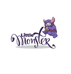 little monster logo template with image of vector image