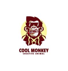 logo cool monkey simple mascot style vector image