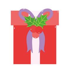 merry christmas red gift box mistletoe decoration vector image