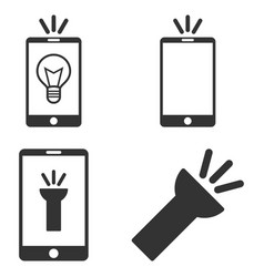 Mobile torch flat icon set vector