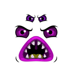 Monster face cartoon icon creepy worm vector