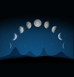 moon phases on dark night sky above abstract vector image