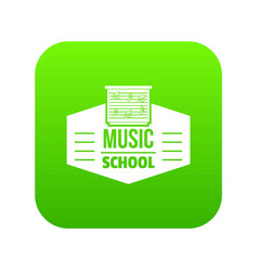 Music school icon green vector