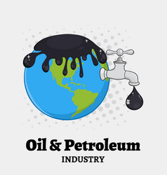 Oil pouring over earth with faucet vector