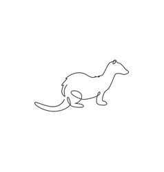 One single line drawing funny ferret for pet vector