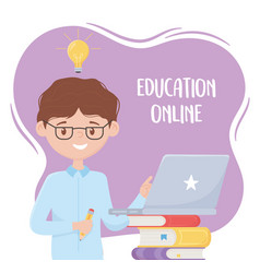 Online education teacher with pencil and laptop vector