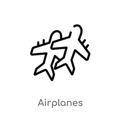 Outline airplanes icon isolated black simple line vector