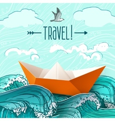 Paper Ship On Waves vector