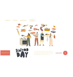 people cooking seafood landing page template vector image