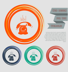 phone icon on red blue green orange buttons vector image