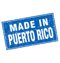 Puerto rico blue square grunge made in stamp vector