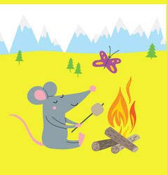 Rat in camp vector