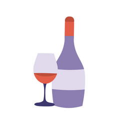 red wine bottle and glass icon vector image