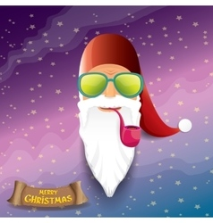 Rock n roll cartoon funky santa claus icon vector
