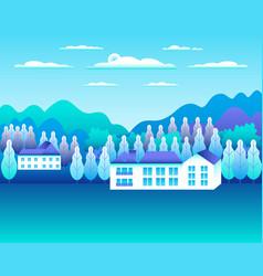 Rural or urban landscape outdoor city or village vector