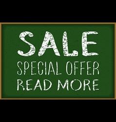 - Sale written on blackboard with chalk vector image