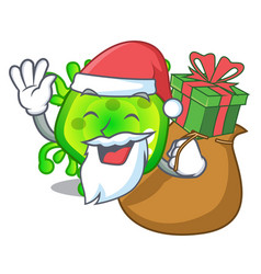santa with gift virus cells bacteria microbe vector image