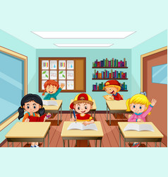 scene with many kids studying in classroom vector image
