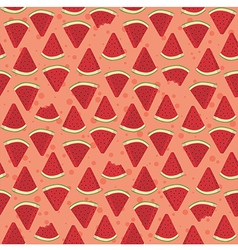 Seamless Pattern Watermelon Triangle Slice Bite vector image