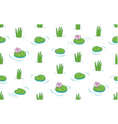 seamless pattern with water lilies and green leave vector image