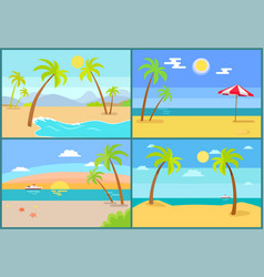seascape and palms collection vector image