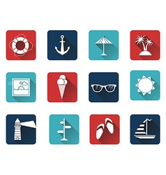 Set of 12 square icons with long flat shadow vector