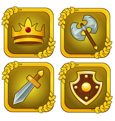Set of crown wooden shield sword and axe vector