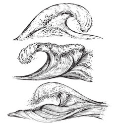 set of hand drawn sea waves in sketch style vector image