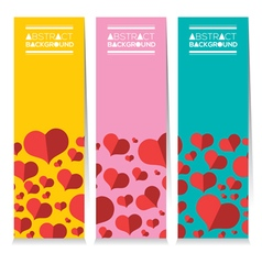 Set Of Three Colorful Red Hearts Vertical Banners vector