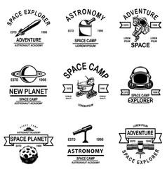 Set space camp emblems design element for logo vector