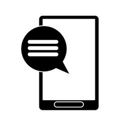 Silhouette smartphone communication bubble speech vector