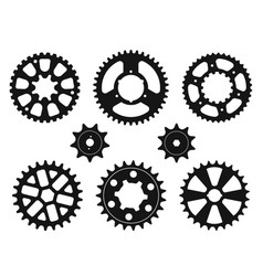 silhouettes of the gear wheels icons set vector image