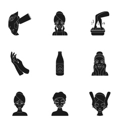 Skin care set icons in black style Big collection vector