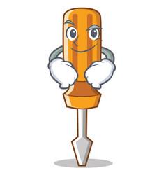 Smirking screwdriver character cartoon style vector