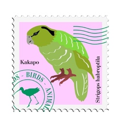 stamp with image of parrot vector image