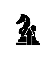 strategy black icon sign on isolated vector image